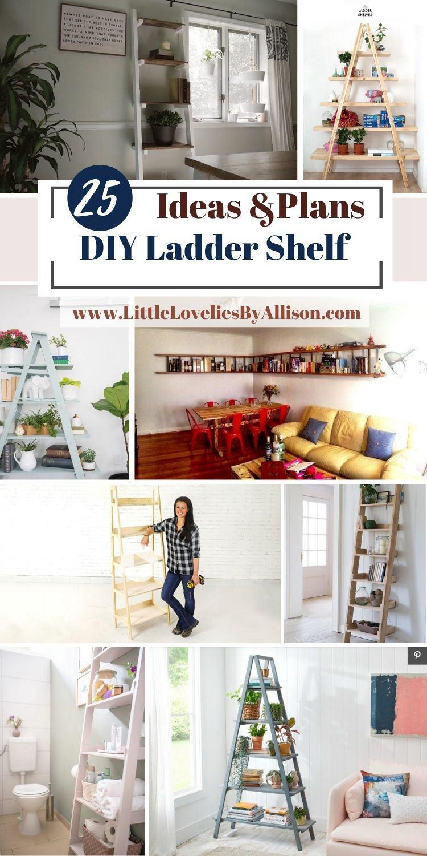 25 DIY Ladder Shelf Plans_ How To Build A Ladder Shelving