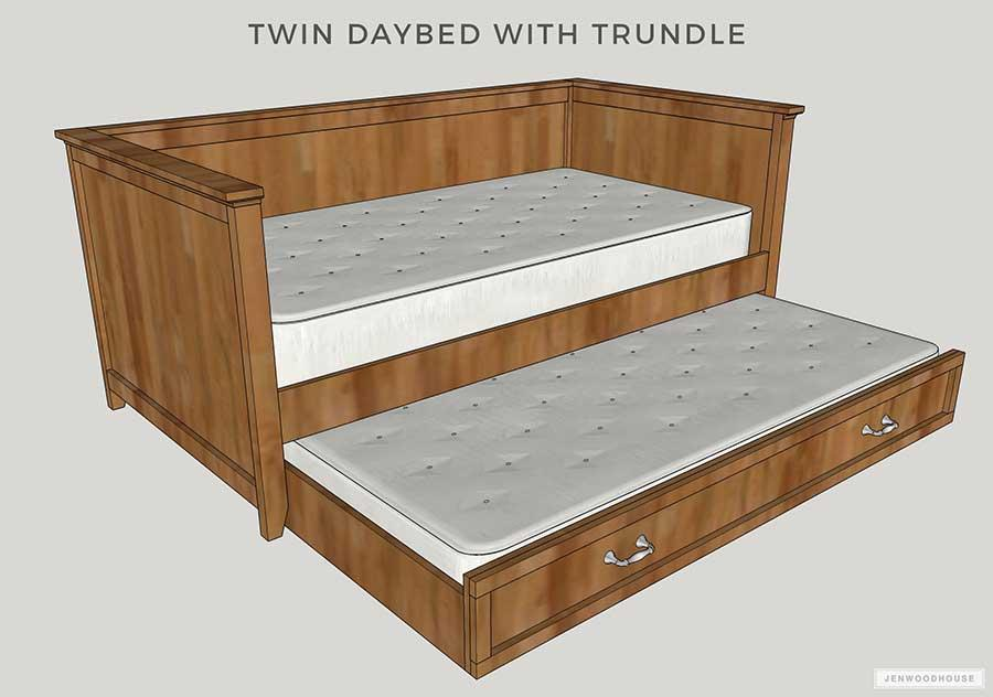 3. DIY Twin Daybed With Trundle