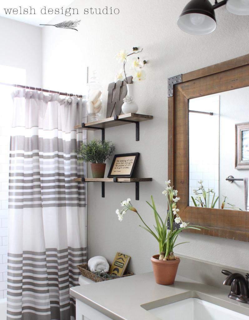 4. DIY Industrial Shelves For Bathroom