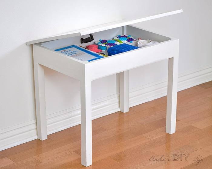 4. DIY Kids Table With Storage
