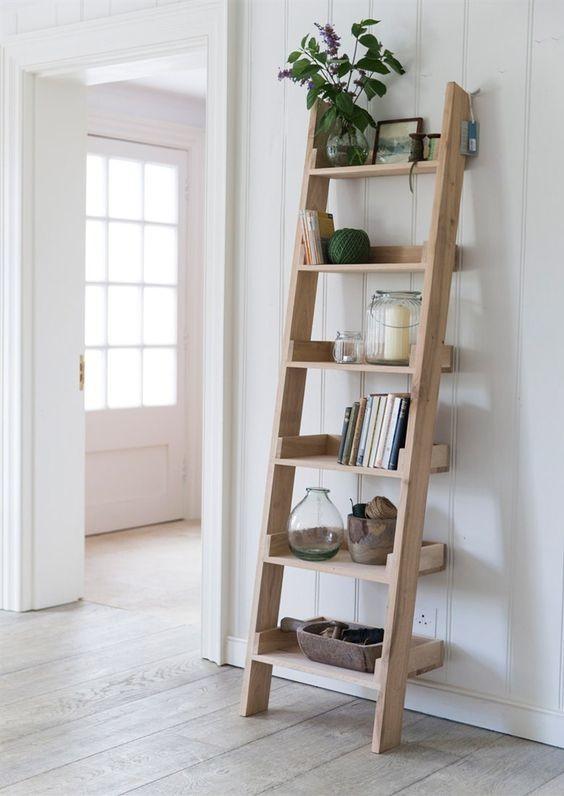 4. DIY Leaning Ladder Shelf