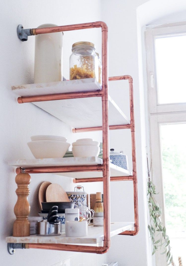 6. DIY Pipe Shelves From Scratch