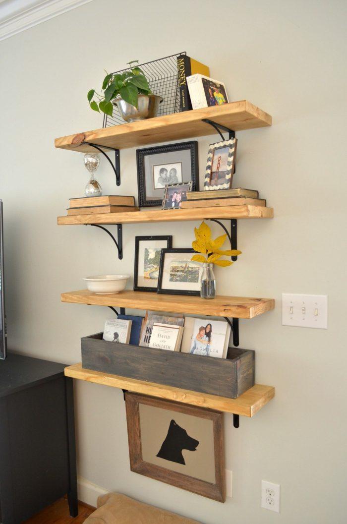 6. DIY Rustic Wood Shelves