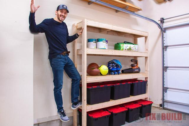 6. Easy DIY Garage Shelf With Plans