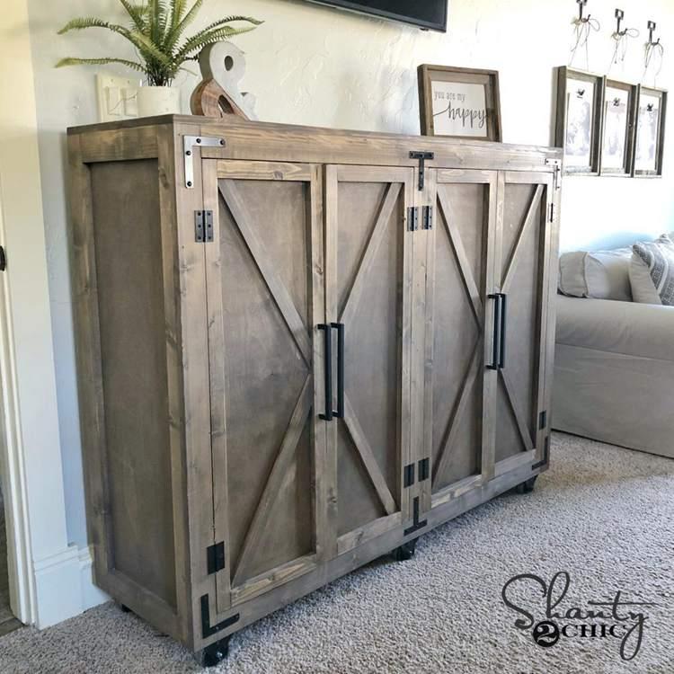 7. DIY Farmhouse X Storage Cabinet