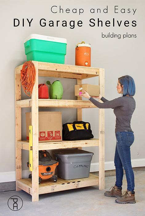 8. Cheap DIY Garage Shelf