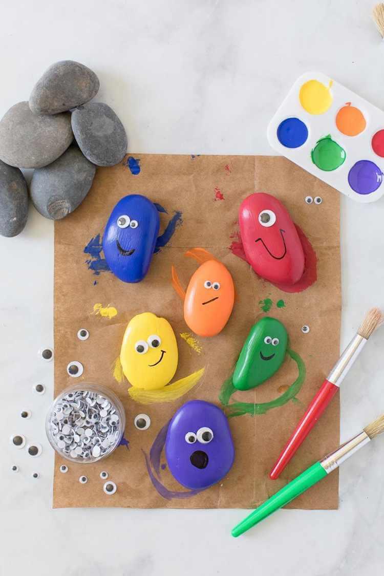 8. DIY Rainbow Painted Pet Rocks