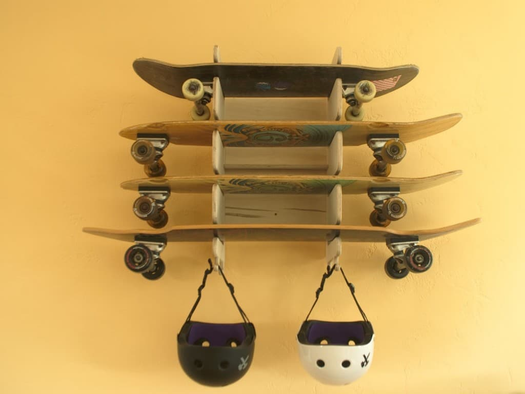8. Wooden Skateboard Rack