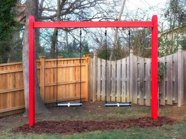 1. DIY Basic Wooden Swing Set
