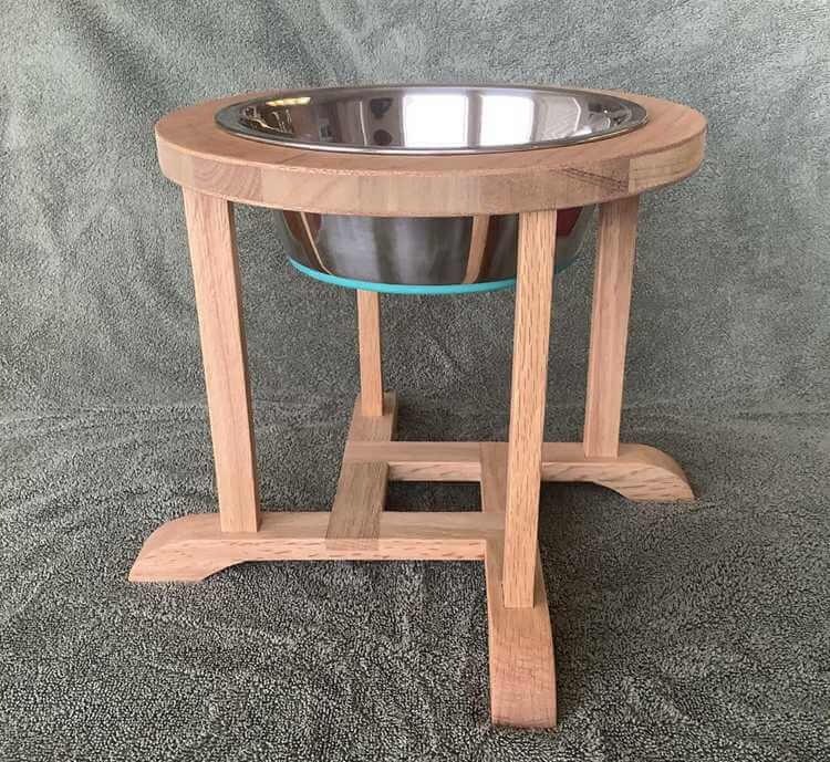 1. DIY Oak Dog Bowl Stand