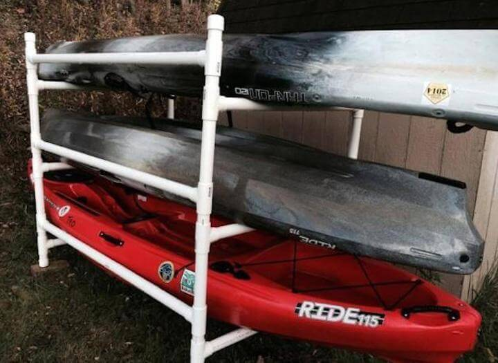 1. Simple Kayak Rack From PVC