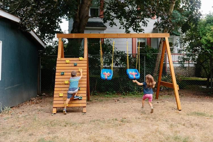10. DIY Wooden Swing Set Frame