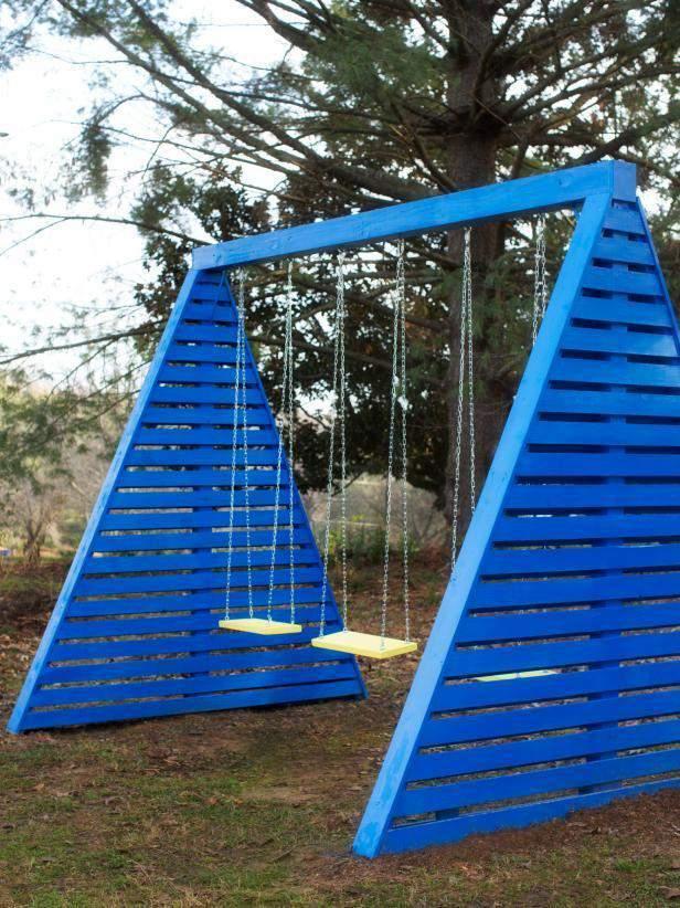 11. DIY A-Frame Swing Set