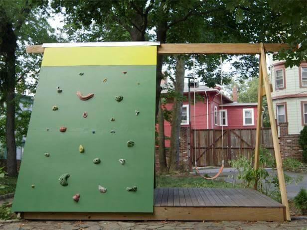 11. DIY Swing Set Playhouse