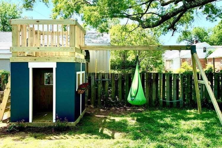 12. DIY Playhouse And Swing Set
