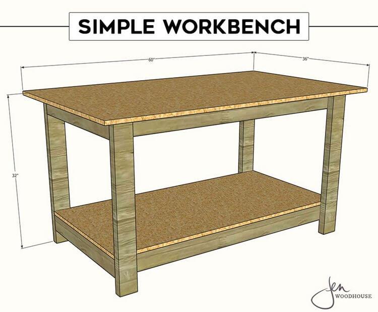 13. DIY Simple Wooden Workbench
