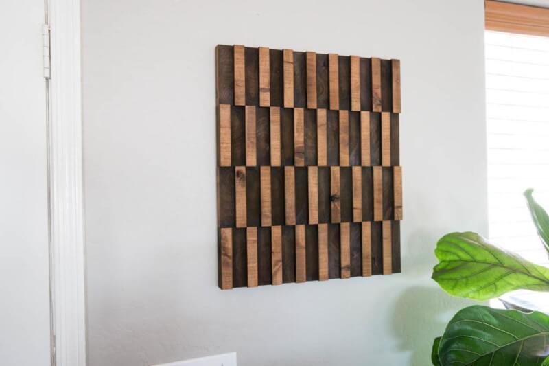 14. DIY Abstract Wooden Wall Art