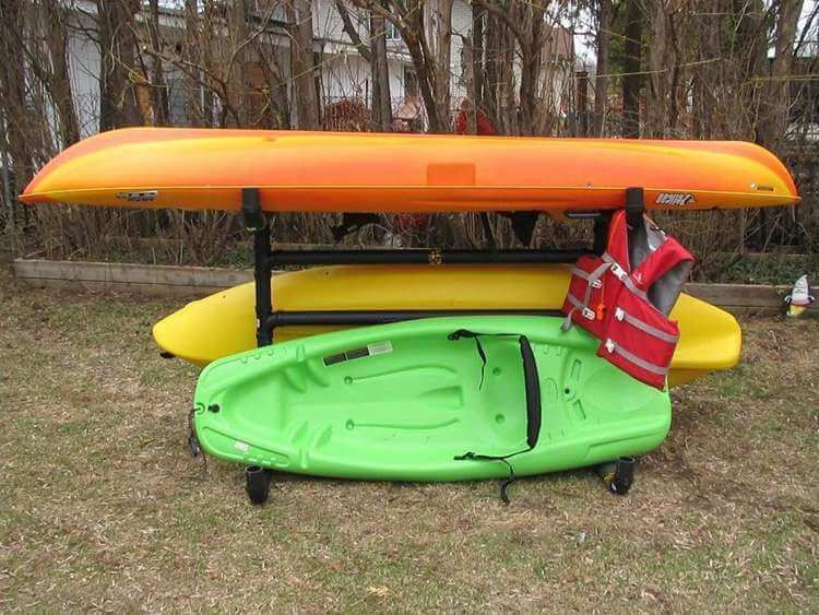 14. DIY Outdoor Kayak Storage Rack