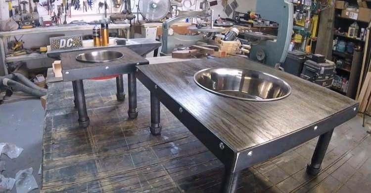 15. DIY Industrial Dog Bowl Stand