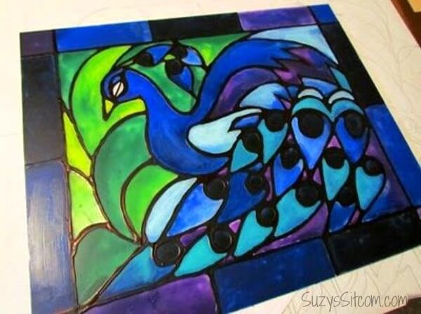 2. How To Make Faux Stained Glass with Acrylic Paint and Glue