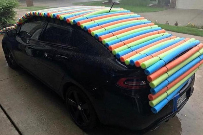 2. Pool Noodle Hail Car Protection