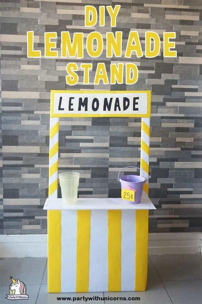 21. DIY Cardboard Lemonade Stand For Kids