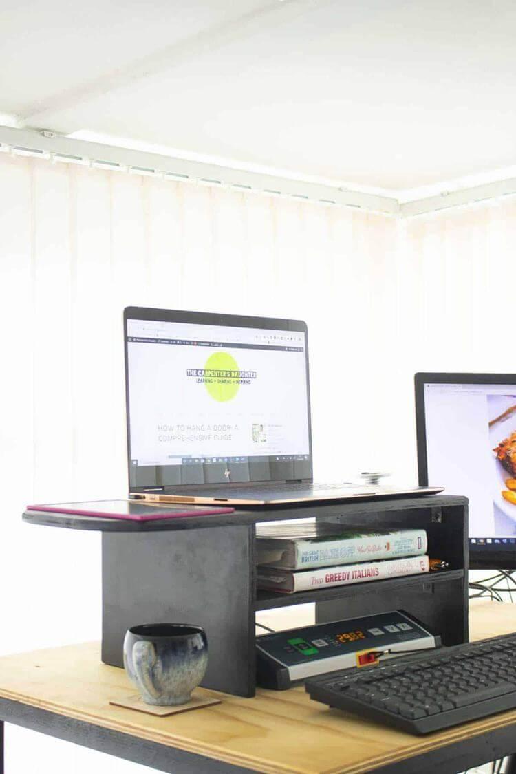 23. DIY Desk Monitor Stand With Shelf
