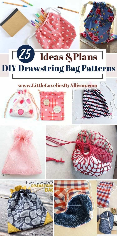 25 DIY Drawstring Bag Patterns For Keeping Small _ Large Items