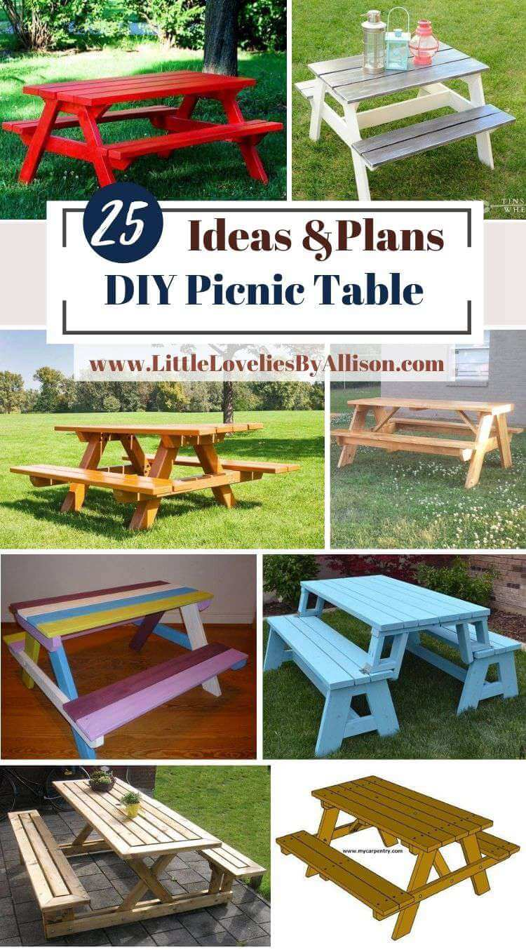 25 DIY Picnic Table Plans_ Do It Yourself Easily