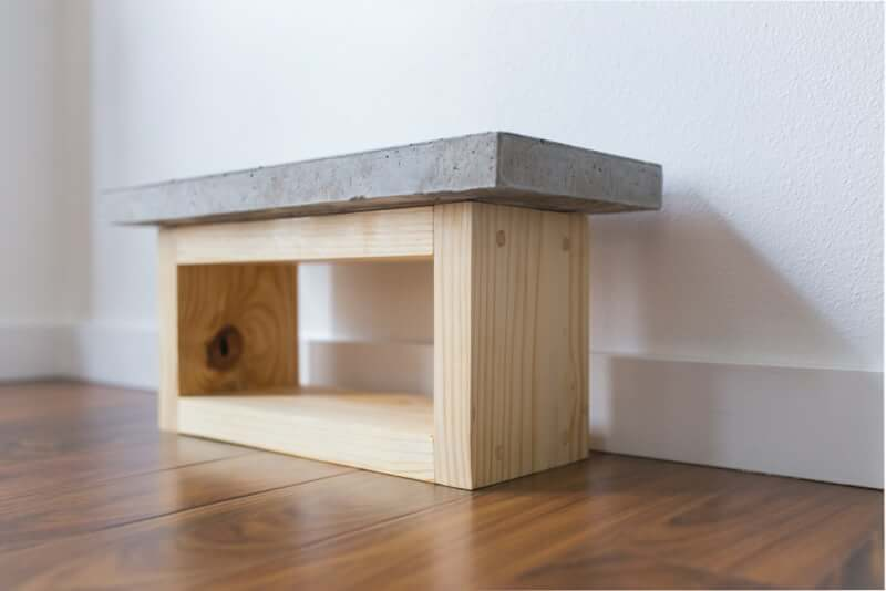 3. DIY ConcreteWood Dog Bowl Stand