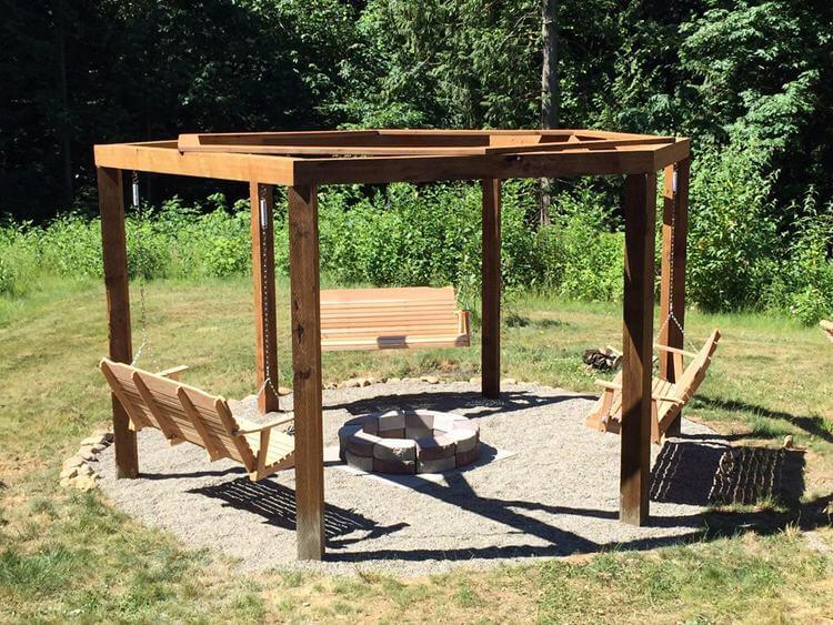5. DIY Gazebo Fire Pit Swingset