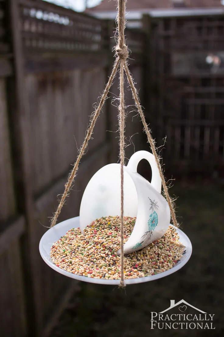 7. How To Make A Tea Cup Bird Feeder
