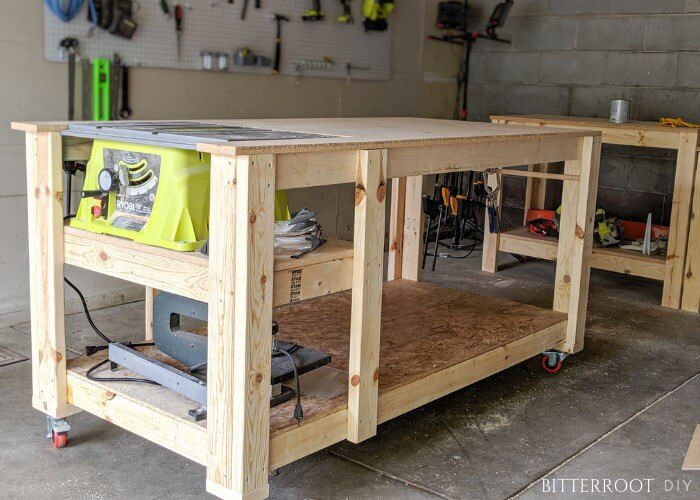 8. DIY Mobile Workbench With Table Saw