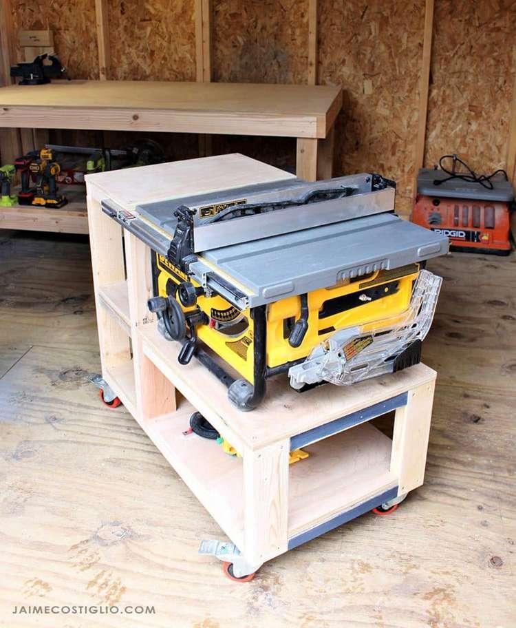 9. DIY Table Saw Cart Free Plans