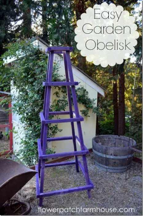 10. DIY Easy Garden Obelisk