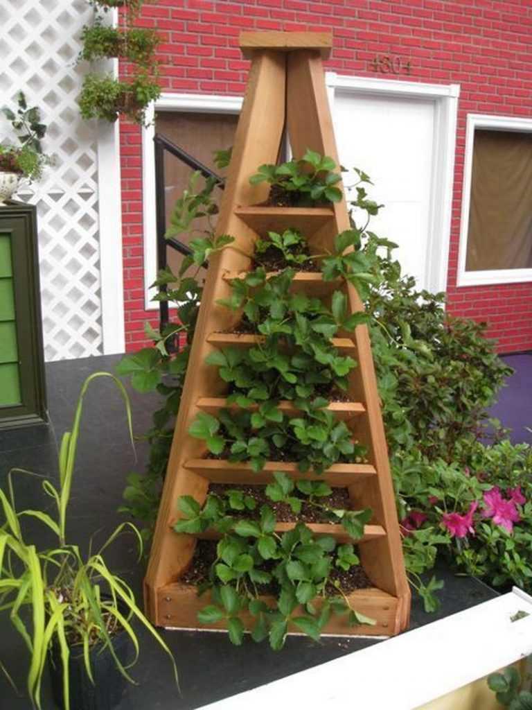 13. DIY Strawberry Pyramid Planter