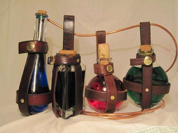 20. Leather Potion Bottle DIY