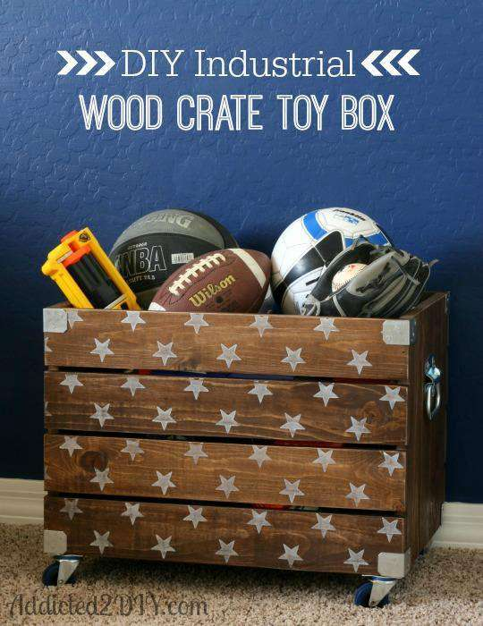 22. DIY Industrial Wood Crate Toy