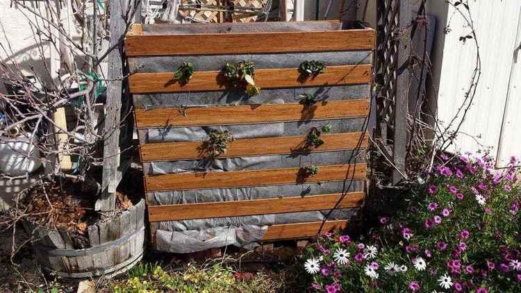 22. Simple Vertical Strawberry Planter DIY