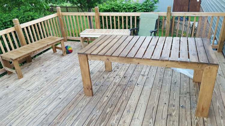 25. Farmhouse Deck Table With Benches
