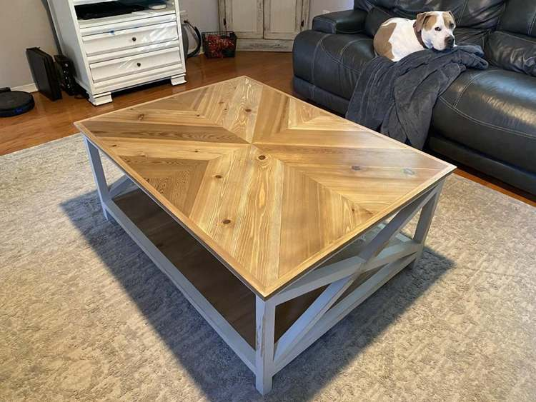 27. DIY Chevron Farmhouse Coffee Table