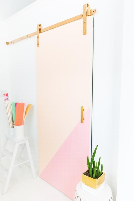 29. DIY Colorblocked Barn Door