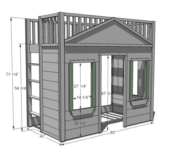 32. DIY Little Cottage Loft Bed
