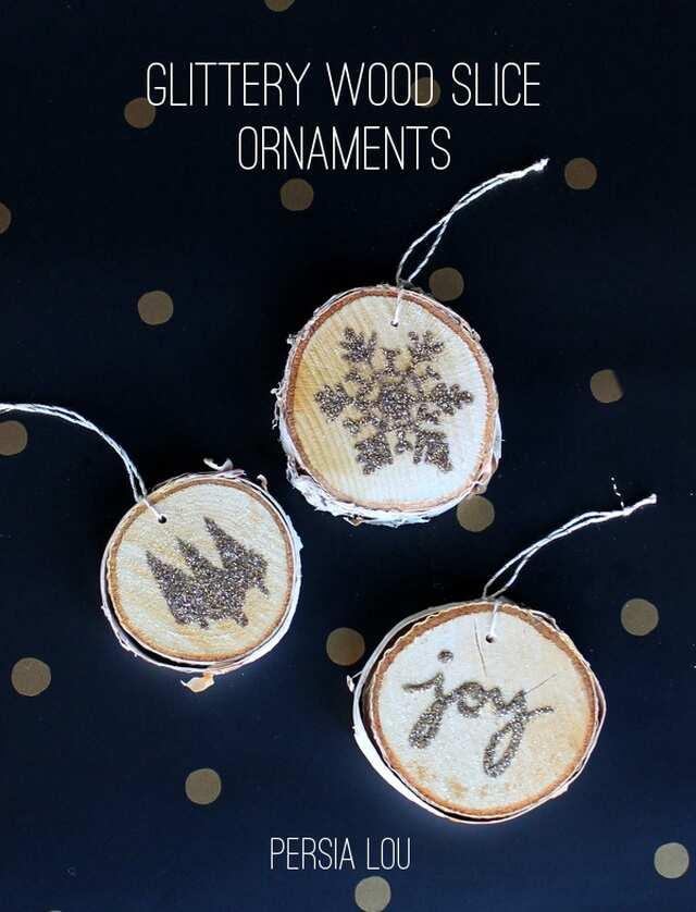 5. DIY Glittery Wood Slice Ornaments