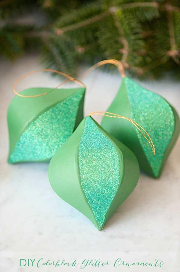 6. DIY Colorblock Glitter Ornaments