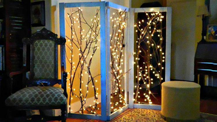 6. Twinkling Branches Room Divider DIY