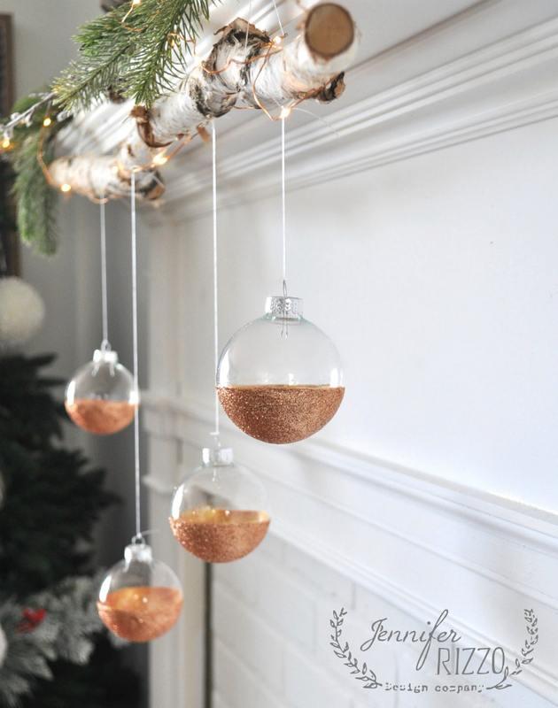 7. DIY Modern Rustic DIY Glitter Ornaments