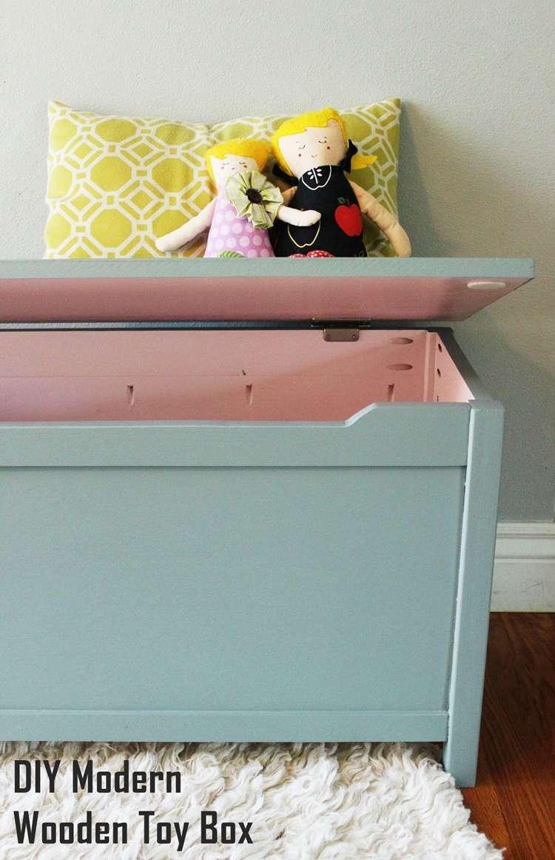 7. DIY Modern Wooden Toy Box
