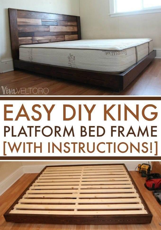 7. DIY Platform Bed Frame For King Bed