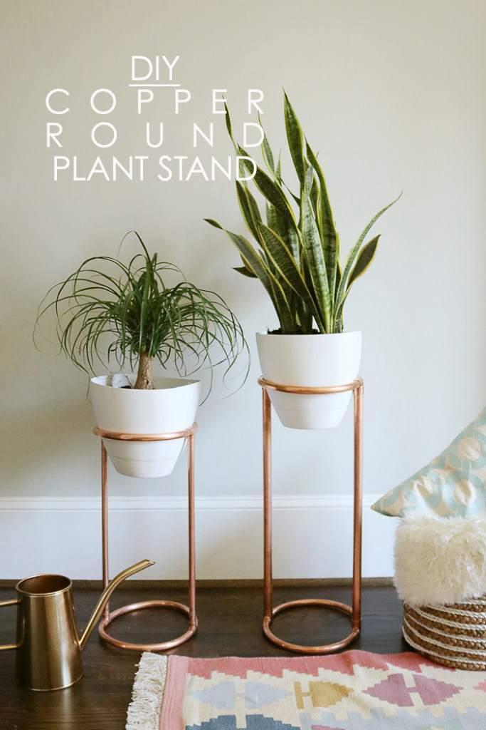 8. DIY Copper Round Plant Stand